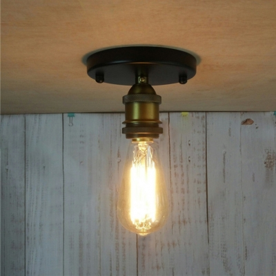 Aged Brass Mini Semi Flush Ceiling Light in Industrial Style for Balcony Foyer Porch