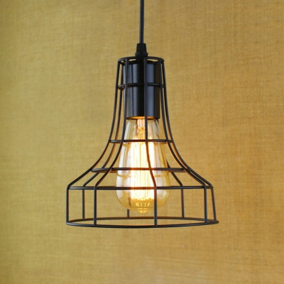 Industrial 1-Light Wire Mini-Pendant Lighting