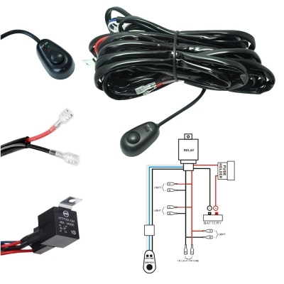 led light bar wiring harness kit 180w 12v 40a fuse relay on off rh m beautifulhalo com led wiring harness #6837003 led wiring harness with switch