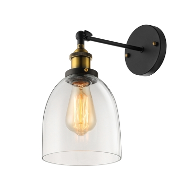 1 light vintage bathroom led sconce with clear glass dome shade aloadofball Choice Image
