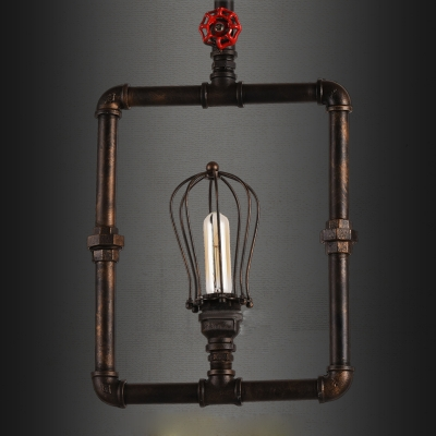 Industrial Reteo Plumbing Pendant Light with Wire Cage Shade, Uplighting