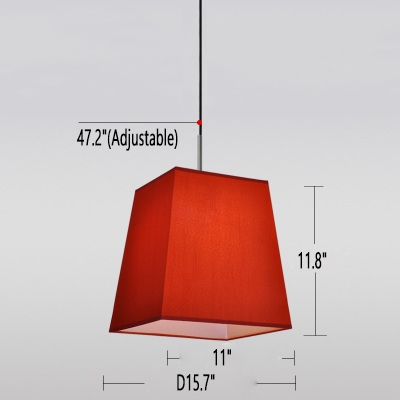 """Image of """"11.8"""""""" Trapezoid Pendant Light Red Linen"""""""