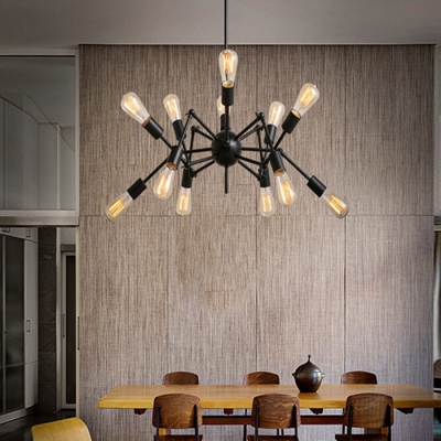 Atomic Style 12 Light LED Chandelier in Black