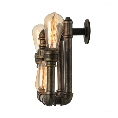 Industrial bare edison bulb wall sconce in bronze finish 3 lights aloadofball Image collections
