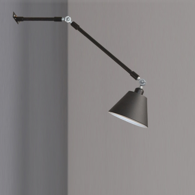 Industrial Boom Arm Wall Light Adjustable with Black Coolie Shade