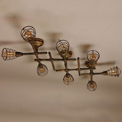 Industrial Cross Plumbing Semi Flush Mount Ceiling Light in Rust Finsh, 8 Lights 55'' Width