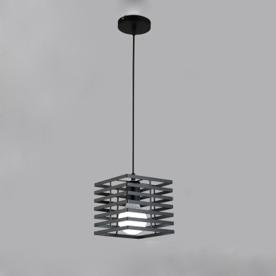 Industrial Mini-Pendant Light with Stripe Metal Cage in Black