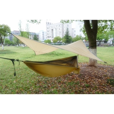 Image of Lightweight Camping Hammock with Rain Fly, Tree Straps
