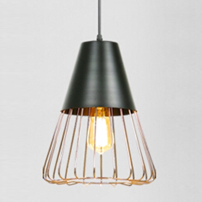 ... Industrial Hanging Pendant Light with Triangle Wire Metal Cage Shade in Gold or White ... & Industrial Hanging Pendant Light with Triangle Wire Metal Cage Shade ...