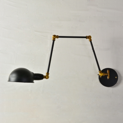 Industrial Wall Sconce Retro Swinging Adjustable Arm with Bowl Shade in Black