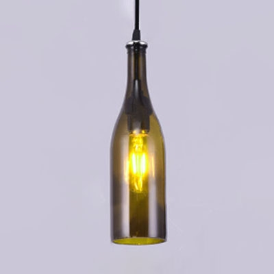 Industrial Hanging Pendant Light Bourbon Bottle in Bar Style, Brown/Yellow