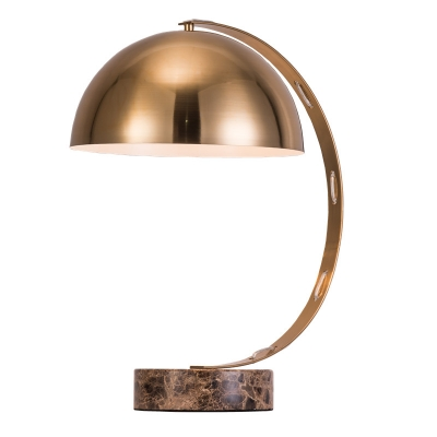 Modern Marble Base Table Lamp with Vintage Brass Bowl Shade