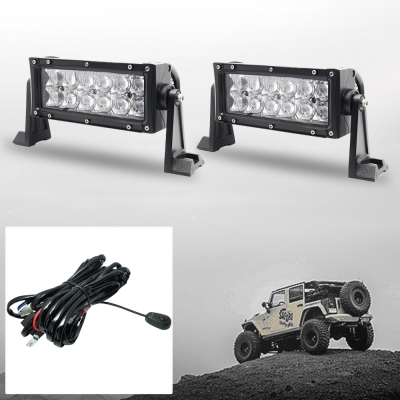 5D 7 Inch Off Road LED Light Bar CREE LED 36W 30 Degree Spot Beam Light For Off Road 4WD Jeep Truck ATV SUV Boat, Pack of 2 with 1 Wire Harness