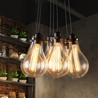 Industrial cluster multi light pendant in exposed edison bulb style 7 lights