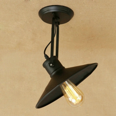 Rotatable Industrial Semi Flush Light in Shallow Round Shade Metal Ceiling Light in Black Finish