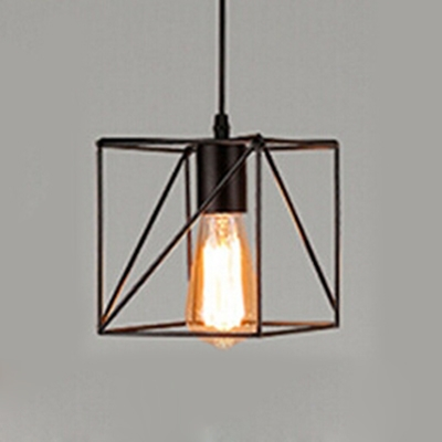 Pendant Light In Black With Novelty Square Shade