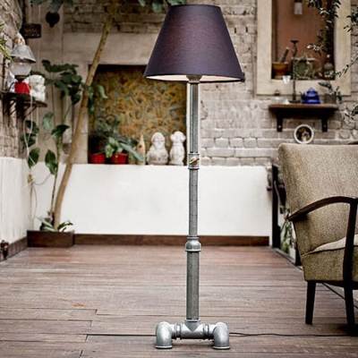 Industrial Pipe Floor Lamp in Silver Finsh with Fabric Shade, 59'' Height