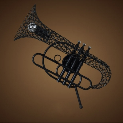 Industrial Wall Sconce with Novelty Single Light Trombone Shade in Black