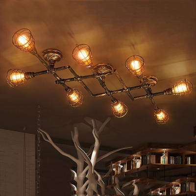 Industrial Cross Plumbing Semi Flush Mount Ceiling Light in Rust ...