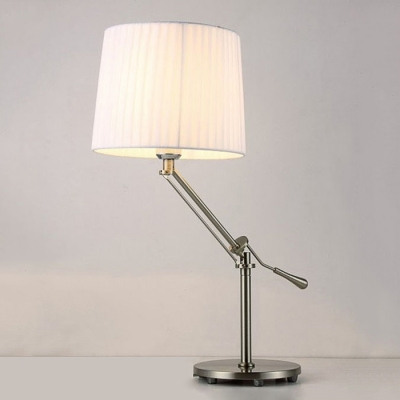 Modern Table Lamp with Rocker Arm Fabric Drum Shade