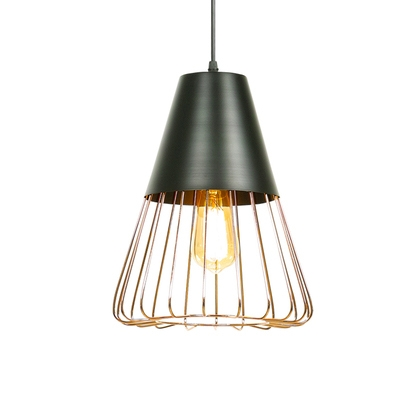 Industrial Hanging Pendant Light With Triangle Wire Metal Cage Shade In Gold  Or White ...