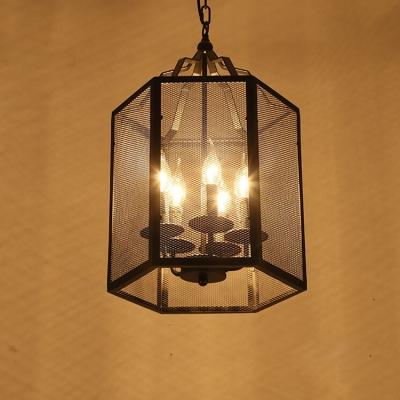 Industrial Pendant Chandelier 5 Light with Bird Mesh Cage in Black