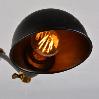 Industrial Wall Lamp Swing Adjustable Arm with Black Mini Bowl Shade