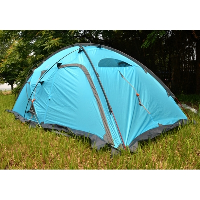Image of 4-Season 3-Person Double Layer Silicone Coating Camping Semi-Geodesic Tent (Blue)