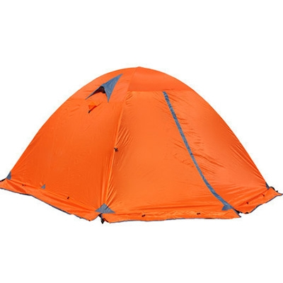 Image of Aluminum Pole Double Layer Windproof 4-Season 3-Person Dome Tent for Winter Camping, Orange
