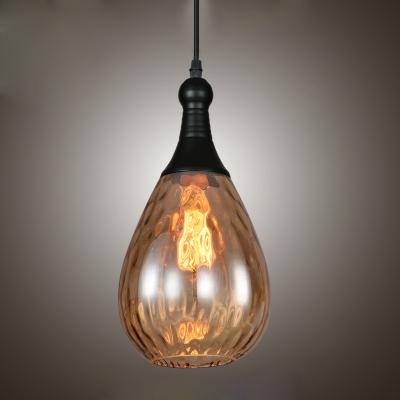 Water Drop Suspension Modernism Clear/Grey/Amber/Copper Glass Single Head Pendant Light