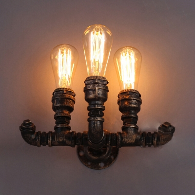 Industrial Pipe Wall Sconce In Bronze Copper Finish With Edison Bulbs 3 Lights