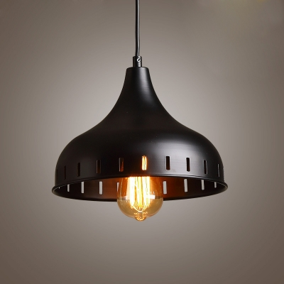 Industrial Single Pendant Light Mini Sized in Black Finish for Indoor Lighting