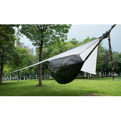 Image of Lightweight Tear Resistant Camping Hammock with Rain Fly, Tree Straps (Grey)