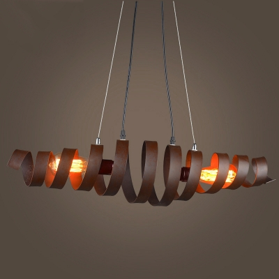 28 inches wide wrought iron 2 light stacked pendent in rust finish