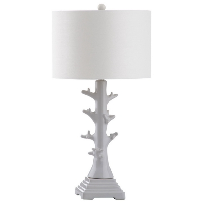 Branch Table Lamp with White Drum Shade