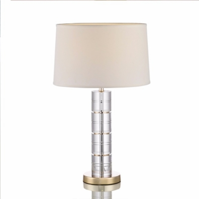 Crystal Section Table Lamp with White Drum Shade