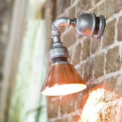 Industrial Pipe Wall Sconce Adjustable with Cone Shade, Green/Red/Antique Copper