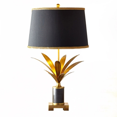 Modern Table Lamp with Golden Leaves Black Shade