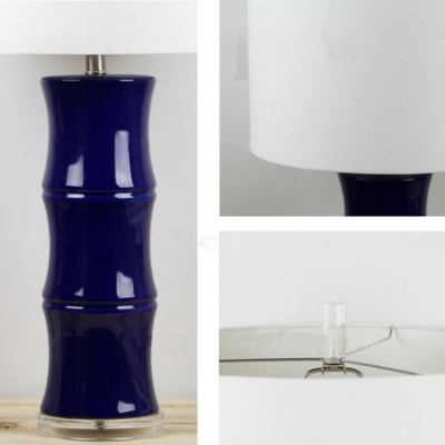 Blue Bamboo Base Table Lamp in Ceramics