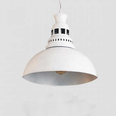 Baycheer / Industrial Pendant Light Retro in White/Black Finish with Dome Shade