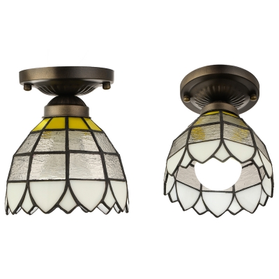 Frosted Glass Tiffany Flush Mount Light Fixture with Down Light Shade