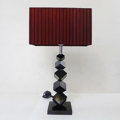 Modern Table Lamp with Black Standing Cube Base Rectangle Red Shade