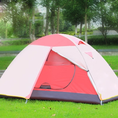 1person backpacking 3season double layer waterproof dome tent pink