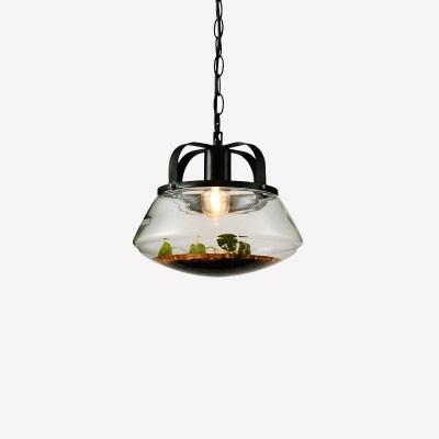 "Image of ""10"""" Ripple Glass Pendant Light Iron Accessories"""