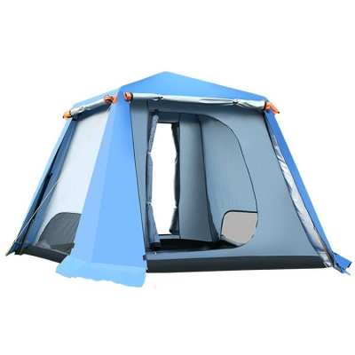 6~8 Person Larger 3-Season Cabin Instant Quick-pitch Tent for Hiking, Camping, Beach and Fishing(Blue, CH444373
