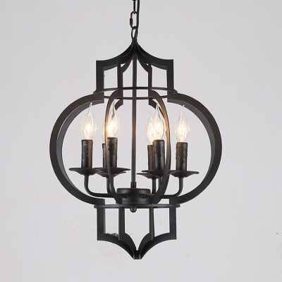 Industrial candelabra chandelier 6 light with bird lantern metal industrial candelabra chandelier 6 light with bird lantern metal cage in black aloadofball Gallery