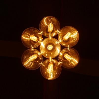 Industrial Cluster Multi-Light Pendant in Exposed Edison Bulb Style, 7 Lights