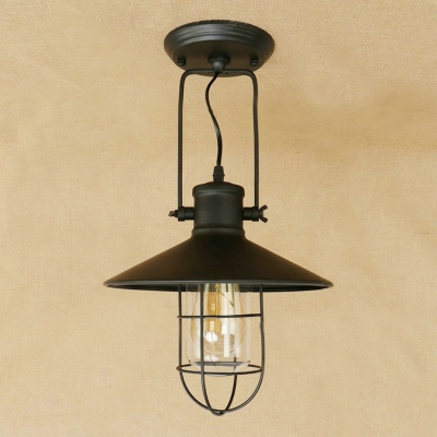 Industrial hanging pendant light with flared shade wire metal cage industrial hanging pendant light with flared shade wire metal cage in black aloadofball Choice Image