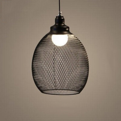 Industrial Single Hanging Lantern with Wire Metal Cage in Black