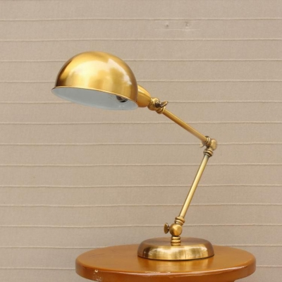Industrial Desk Lamp Adjustable Arm with 6 Inch Wide Gold Bowl Shade